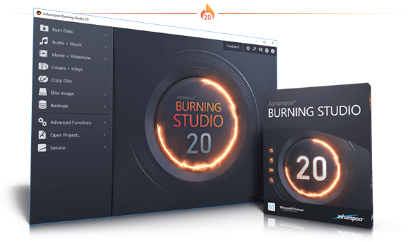 Burning Studio 20 Caixa e captura de tela